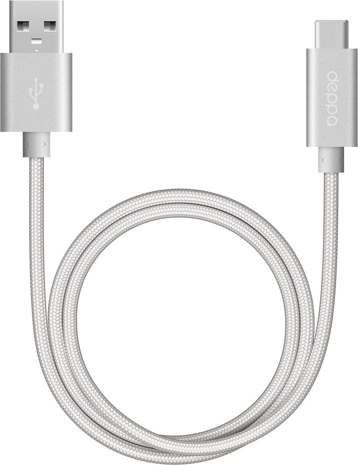 Кабель Deppa USB-A - USB-C, 1.2 м, нейлон серебристый