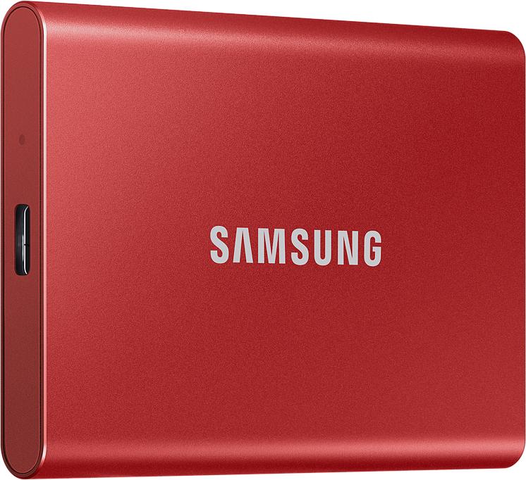 Картинка - SSD USB 3.2 T7 500 ГБ красный