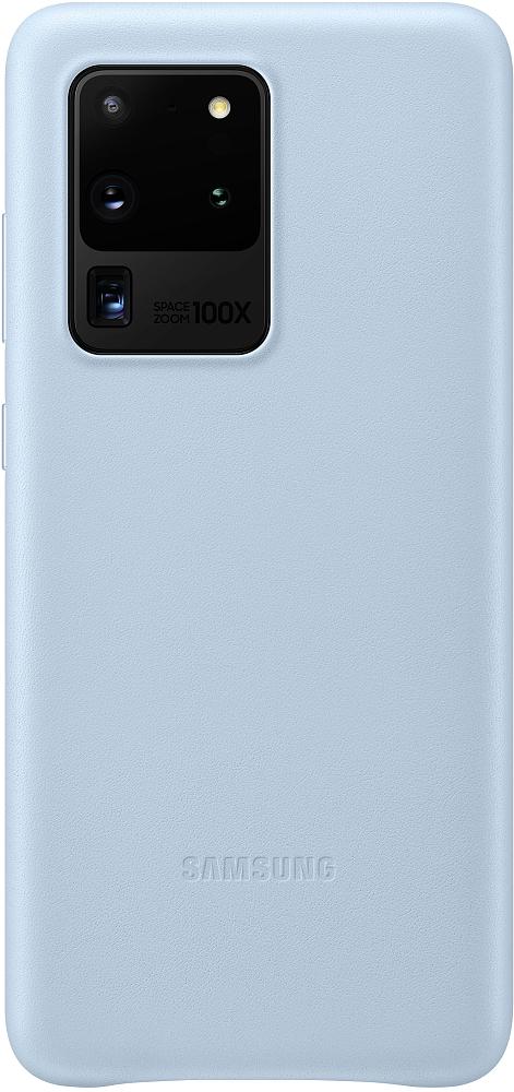 Картинка - Leather Cover для Galaxy S20 Ultra голубой