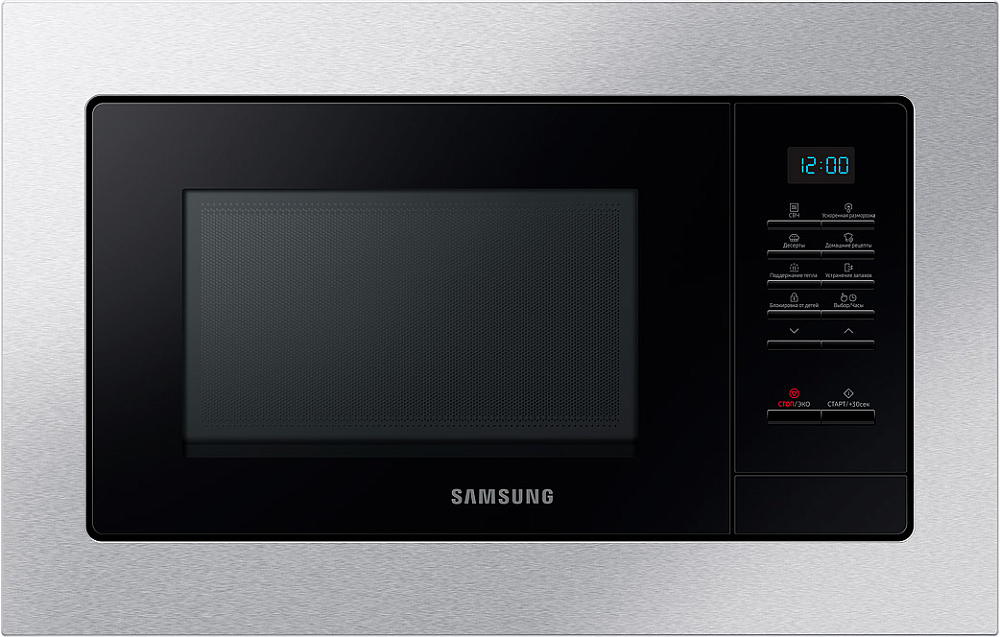 Встраиваемая микроволновая печь Samsung MS23A7013AT/BW, 23 л нержавеющая сталь