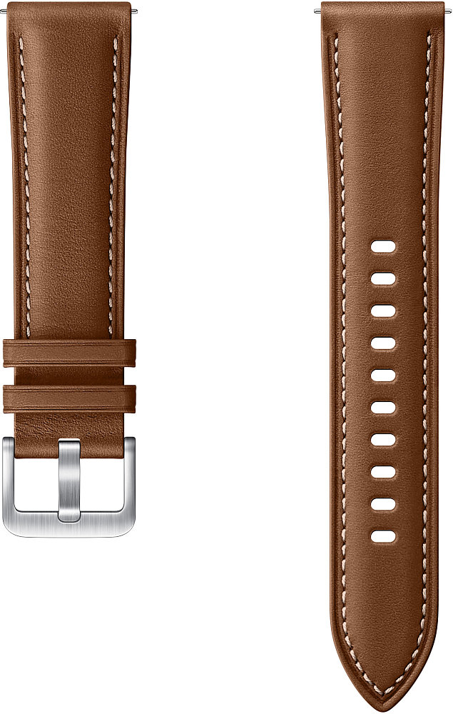 Картинка - Stitch Leather Band для Galaxy Watch3(41мм) | Watch(42мм) | Watch Active 2 | Watch Active коричневый