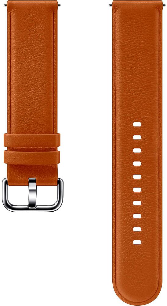 Картинка - Leather Band для Galaxy Watch3(41мм) | Watch(42мм) | Watch Active 2 | Watch Active коричневый ET-SLR82MAEGRU