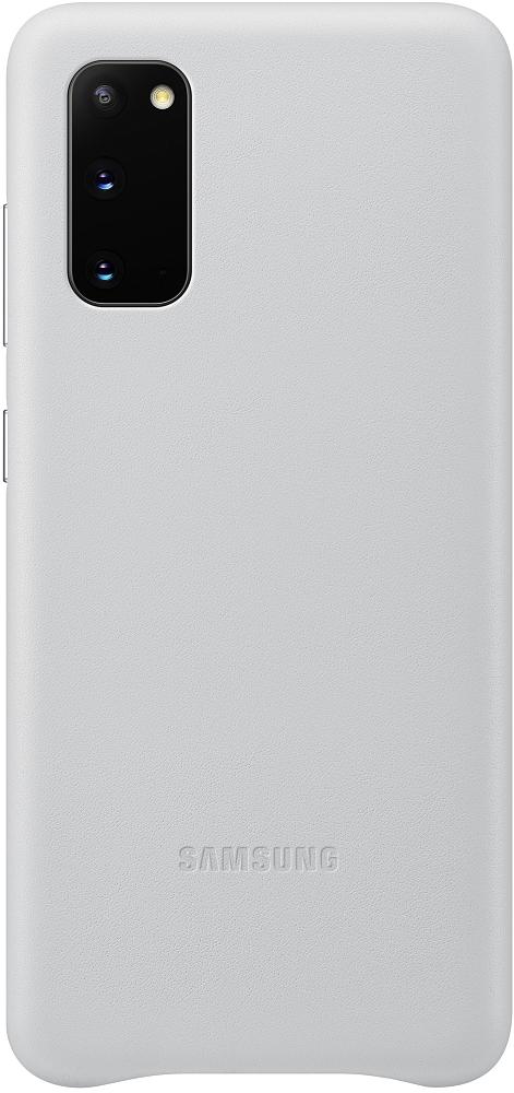 Картинка - Leather Cover Galaxy S20 серебристый
