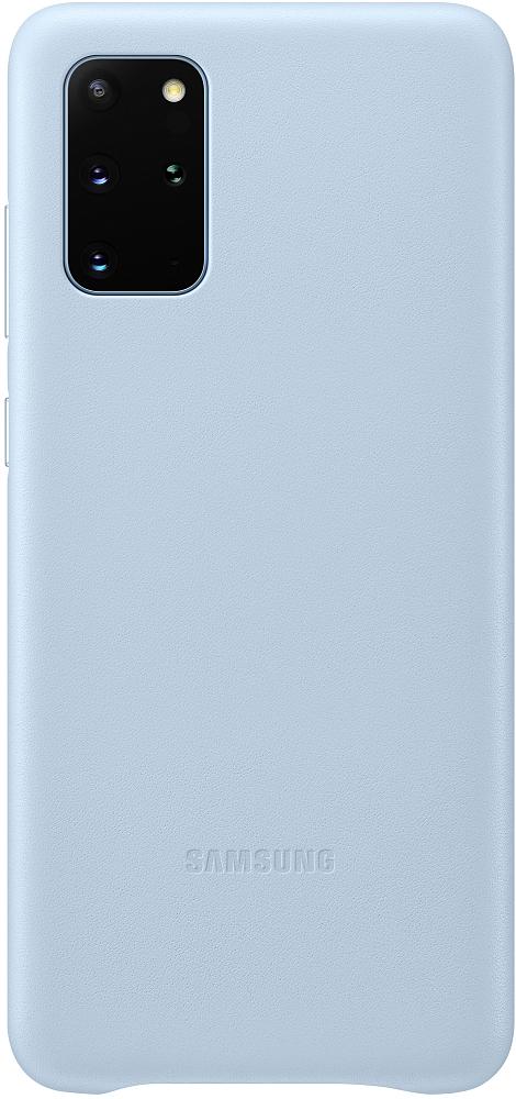 Картинка - Leather Cover Galaxy S20+ голубой